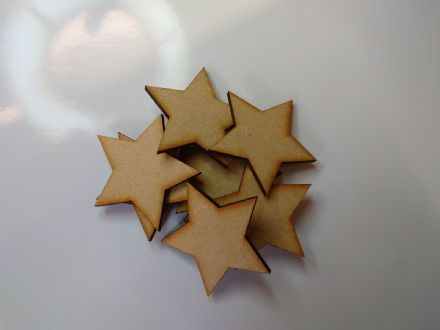 wooden craft STAR shapes, laser cut 3mm mdf embellishments, decoupage, scrapbook